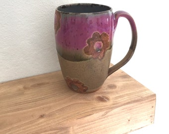 Large pottery mug, handmade, rustic, lilac,  tall coffee mug pottery, best seller, top selling gifts, mothers day, birthday gifts for her