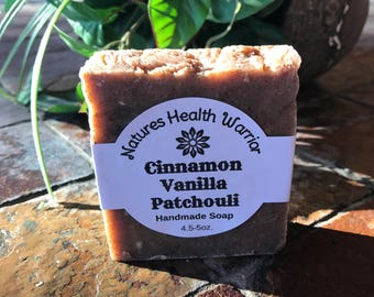 Cinnamon/Vanilla/Patchouli Scented Handmade Natural Nourishing Essential Oil Soap by Natures Health Warrior