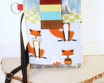 Fox Cell Phone Sleeve - 40% OFF - Ready to Ship - across body phone case, cell phone purse, iphone purse, samsung case