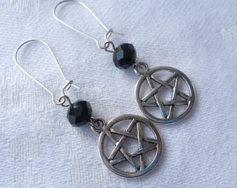 Pentagram earrings,silver earrings, pentacle earrings,wiccan jewellery,pentagram jewelry,wicca,pagan jewelry,gift,pentacle,wicca