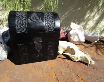 Black Triple Moon, Pentacle, Celtic Knotwork Wood Chest with Skull~Altar Decor~Craft Supply~Witch Spell Supply~Herb Box~Tarot Box