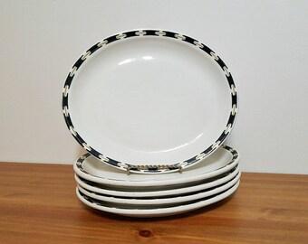 Buffalo China Oval Plates Restaurant Ware Set of Five Black Gold Platters