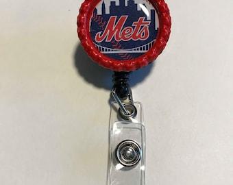 New York Mets Retractable ID Badge Reel, NY Mets magnets, NY Mets earrings, ny Mets keychain