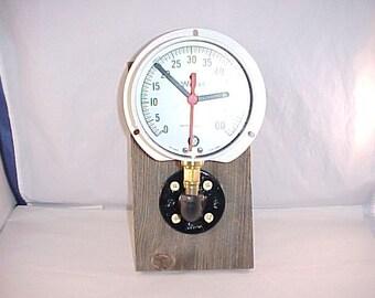 Vintage Pressure Gauge Repurposed Into Wall Clock