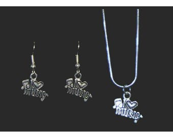 Love Music Necklace and Earring Set, Music Necklace, Music Earrings, Music Jewelry, Music Jewelry Gift