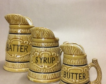 Kitchen Kitsch Vintage Pitchers Set of 3; Batter, Syrup, Butter; Perfect for Waffle and Pancake Fans