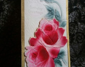 Antique postcard from 1913 happy birthday roses