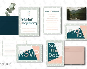 Modern Oslo Theme - printable wedding invite set