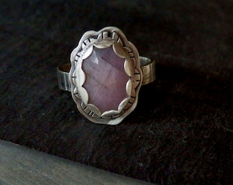 Pink sapphire ring / rose cut sapphire ring / statement ring / September birthstone / sapphire jewelry / natural sapphire / ready to ship