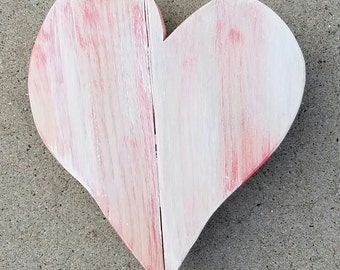 Small heart | Heart | Pink and White Heart | Pallet Wood Heart | Wood Heart | Pallet Heart