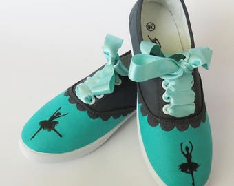 Hand Painted and Decorated Sneakers with Ballerinas, Canvas Shoes, Casual Sneakers, Sport, Custom, Gift for friend