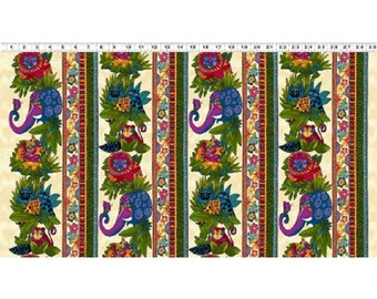 Wild Ones Flannel by Laurel Burch Clothworks Cotton Fabric Y2326-57 Cream Stripe- Free shipping U.S.