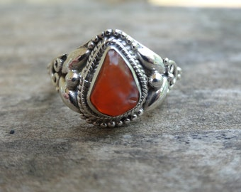 Sterling Silver Natural Mexican Opal Ring Size 7 - Ring size 7 - Rough Opal Ring - Silver Mexican Opal Ring Size 7 -