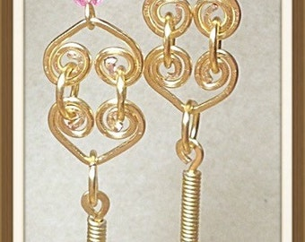 Long Dangle Earrings pink and Gold