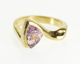 14k Trillion Pink Topaz Pressure Illusion Freeform Ring Gold