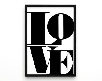 Valentines Day, Love Art Poster, Word Artwork, Love Sign, Typography Poster, Typography, Modern Wall Art, Black and White