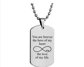Your text here, Personalised mens dog tag pendant necklace, mens anniversary Pendant Necklace, Gift box, mens DOG TAG