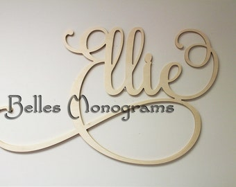 Wooden Name, Nursery Decor, Wall Hanging Letters for Nursery - Wooden Wall Art - Custom Name Plaque Cut Out - Personalized Cursive Name