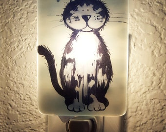 Fused Glass Kitty Night Light, Home Decor, Cat Lovers, Children Room, Unique Gift, Nursery, Under 20 Dollars, FREE US Shipping, , #NL70