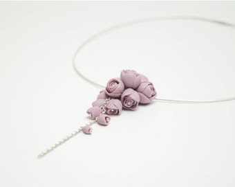 Sterling Silver Short Necklace with Purple Peony Porcelain Flowers - El Paso, Artisan Ceramic Handmade Jewelry
