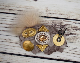 Handcrafted Steampunk Accessory - Taupe and Gold Feather Hair Clip - Steampunk Cosplay - Mask Hair Clip - Clock Hair Accessory - World Bows