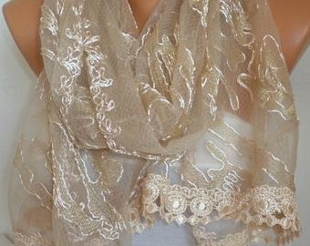 Beige Lace Scarf,Wedding Shawl,Women Shawl Scarf,Bridesmaid Gift,Cowl Scarf,Bridal scarf, Lace Mantilla,Church Lace Chapel Veil Mantilla