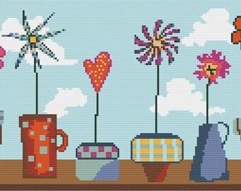 Flower Pots Cross Stitch Pattern PDF ** Instant Download **