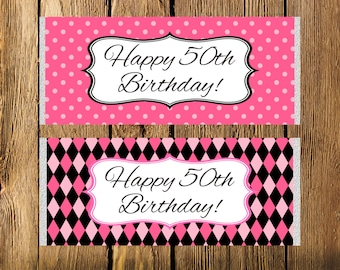 Printable 50th Birthday Pink and Black Large Candy Bar Wrappers - Instant Download