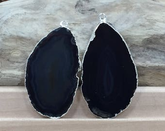 Black Agate Slice, Black Agate Slice Pair, Black Geode Slice Pair, Black Geode Slice, Black Agate Slice, Dyed, Silver Plated, B