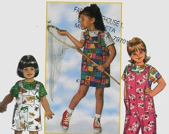 ON SALE Vintage 1990s Childs Overalls or Romper, Jumper and Top Sewing Pattern Simplicity 7536 Appletree by Fabric Traditions Size 5-6X Uncu