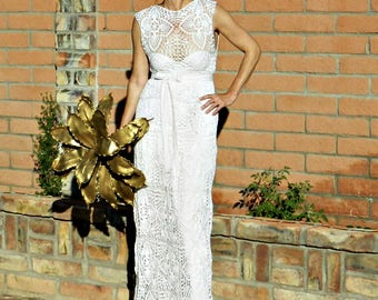 Couture Lace-Couture Gown-Couture Dress-Couture Wedding Dress-Hand Crochet Lace Couture-Boat Top & Skirt Pineapple Motif-LaDyLaDuke Bride