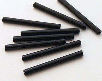 1-inch Long Black Bugle Tube Czech Glass Beads 50