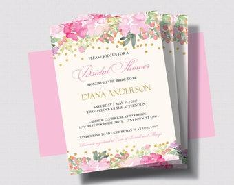 BRIDAL SHOWER INVITATION Pink and Gold Glitter | Blush Pink Floral Bridal Shower Invitation | Shabby Chic Bridal Shower Printed or Digital