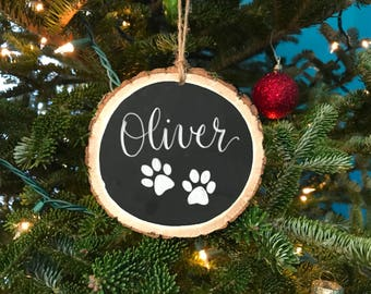 Pet Christmas ornament - custom pet ornament - Christmas gift - gift for pet parents - pet memorial ornament - rustic wood ornament