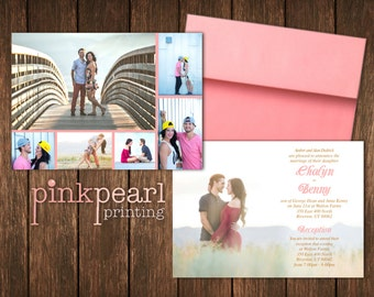 Classic Horizontal Photo Collage Wedding Invite with 6 pictures to Customize