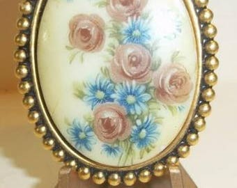 Beautiful Porcelain Brooch With Dusty Pink Roses and Blue Daisies