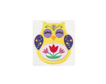 Ohli the Owl with Tulips - I Will Machine Embroider This Design On To Your Custom Item