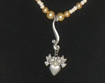 White and gold beaded pendant necklace  - dove heart pendant - lobster claw clasp