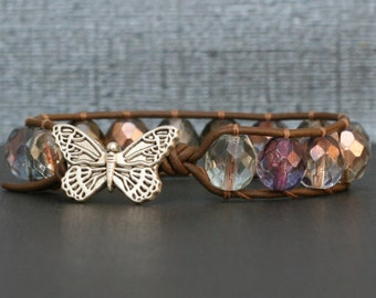 butterfly jewelry - pastel crystal and chocolate brown leather wrap bracelet - single wrap - boho glam