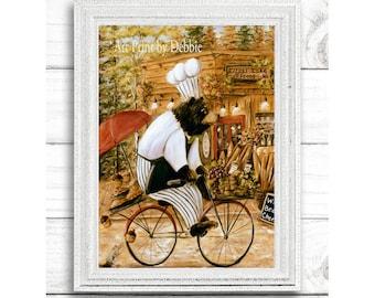 Kitchen Prints | Rustic Cabin Kitchen Print | Lake Cottage Kitchen Print | Rustic Cabin North Woods Kitchen | Bear On Bike