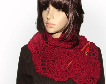 Red Crochet Scarf, Red Crochet Lace Scarf Freestyle, freeform crochet scarf