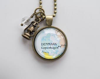 Map of Denmark Necklace - Map Pendant Necklace - Custom Jewelry - Travel Necklace - Personalized Jewelry Gift for Women Danish Necklace