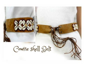 Cowrie Shell Belt - ethnic Belt - tie belt - festival  Belt - beach belt  - gypsy belt - waist 26 to 30 inches  # B2