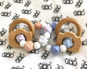 CAMERA Boy or Girl Silicone Teether with Wooden Ring Rattles | Double Ring Teether | Baby Shower Gift | Teething Baby |