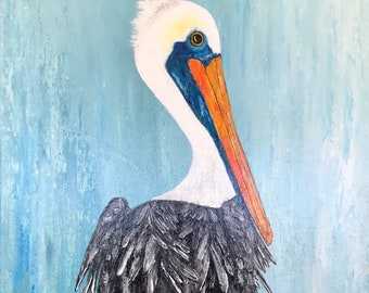 """Brown Pelican Abstract Painting 12x16"""" Original Acrylic Gallery Wrapped Canvas """"Rocky"""""""