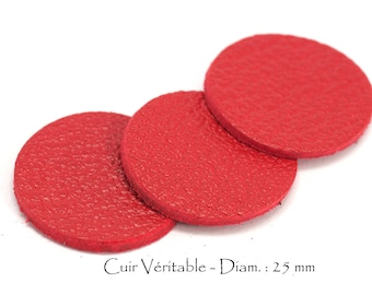 6 round genuine leather - Diam. 25 mm - goat leather - red tomato set
