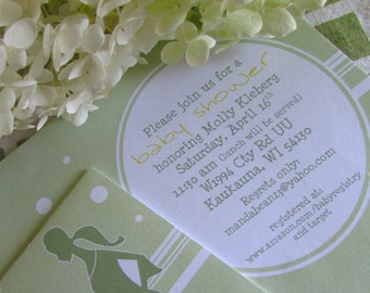 Elegant Baby Shower Invitation pregnant belly silhouette - DIY - PRINT YOURSELF or purchase prints