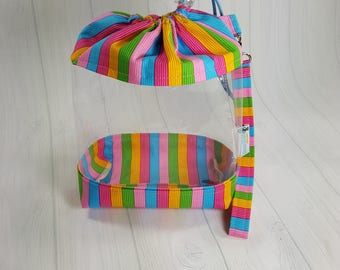 Small Clear Knitting Project Bag, Ice cream parlor stripes, pastel rainbow Clear Vinyl Bag, Sock Knitting Bag, drawstring window bag CVS0051