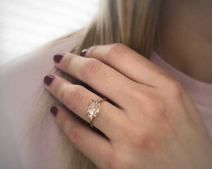 Featured listing image: Diamond Ring, Engagement Ring, Rose Gold Engagement Ring, Raw Diamond Ring, Solitaire Ring, Ring Engagement, Diamond Engagement