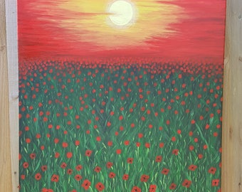 Poppies. Original acrylic landscape painting on a recycled canvas.